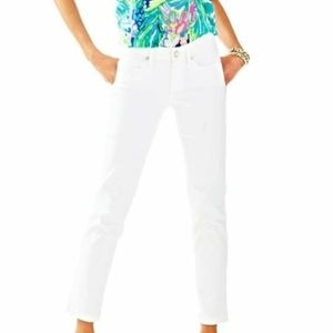 Lilly Pulitzer South Ocean crop white jeans